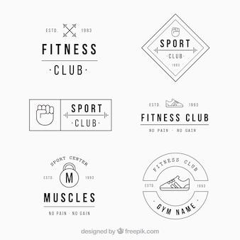 Набор ретро-ярлыков для фитнеса