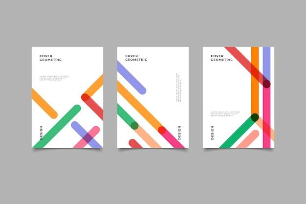 Набор ретро геометрический дизайн обложки