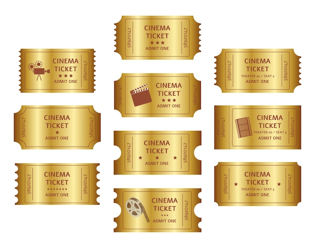 Набор ретро золотых билетов в кино