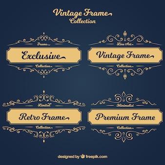 Набор ретро золотые рамки для текста