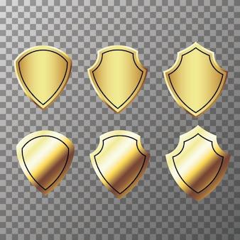 Набор ретро золотых этикеток и щитов