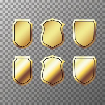 Набор ретро золотых лент этикеток и щитов