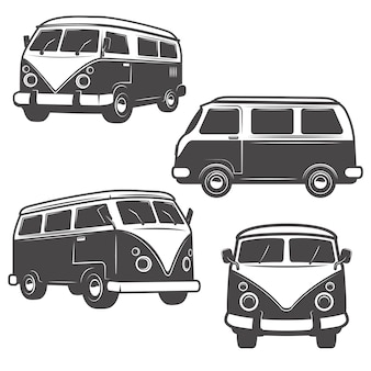 Набор ретро хиппи автобусов на белом фоне. элементы для логотипа, этикетки, эмблемы, знака, торговой марки.