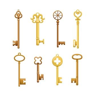 Набор ретро ключей в плоском стиле.
