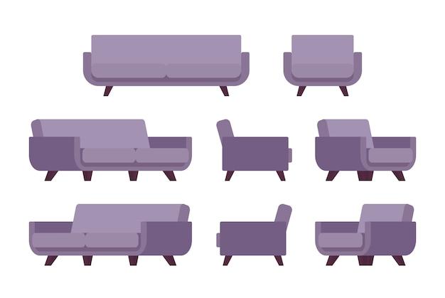 レトロなライラックのソファとアームチェアのセット