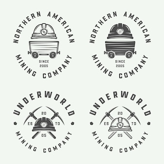 Набор ретро горнодобывающих или строительных логотипов, значков и этикеток в винтажном стиле