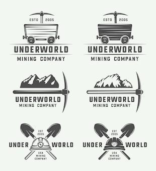 Набор значков логотипа ретро добычи или строительства