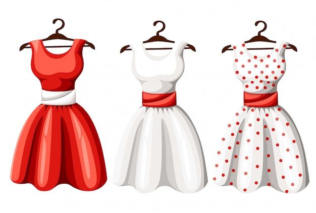 복고풍 핀업 귀여운 여자 드레스 세트. 짧고 긴 우아한 검정, 빨강 및 흰색 폴카 도트 레이디 드레스 컬렉션. 아트 이미지 그림, 배경