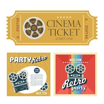 텍스트를 위한 공간이 있는 테이프를 릴 이미지 릴이 있는 복고풍 포스터 세트.