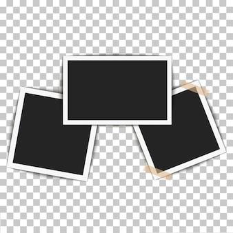 Set of retro realistic vector photo frame