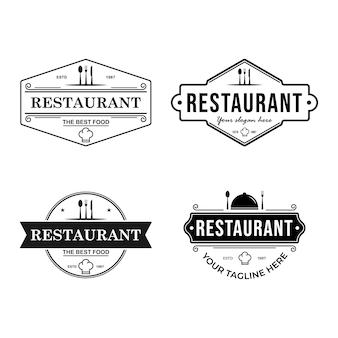 Набор шаблонов логотипа ретро-ресторана