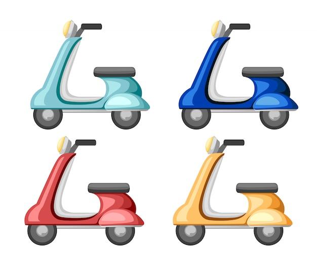 Набор ретро скутер. значок. старый транспорт иллюстрации. иллюстрация на белом фоне