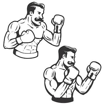 レトロなスタイルのボクサーのイラストのセットです。図。