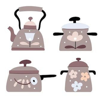 Набор ретро посуды в пастельных тонах