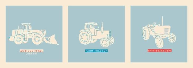 レトロトラクターのセットトラクター干し草ハーベスターハーベスターアグリモーター