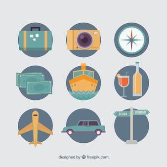 レトロ旅行要素のセット