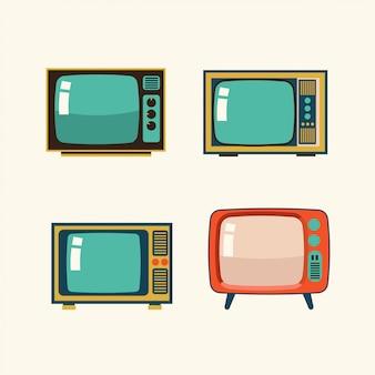 レトロなテレビイラストのセット