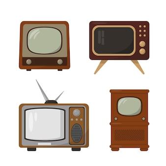복고풍 tv 세트. 빈티지 텔레비전 컬렉션 흰색 배경에 고립입니다.