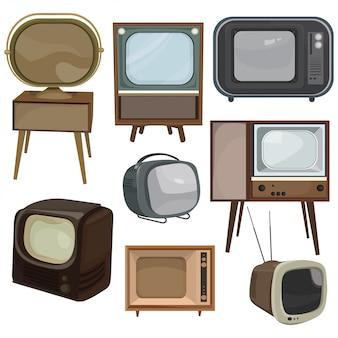 Набор ретро телевизоров. сборник мультфильмов старых телевизоров. векторная иллюстрация телевидения.