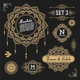 Set of retro vintage graphic design elements for frame, labels, logo symbols and ornamental