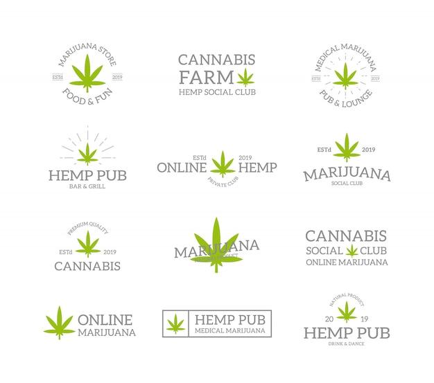 レトロなビンテージマリファナの葉、麻、大麻のロゴや記章、エンブレム、ラベル、バッジ、その他のブランドオブジェクトのセット。線のスタイル