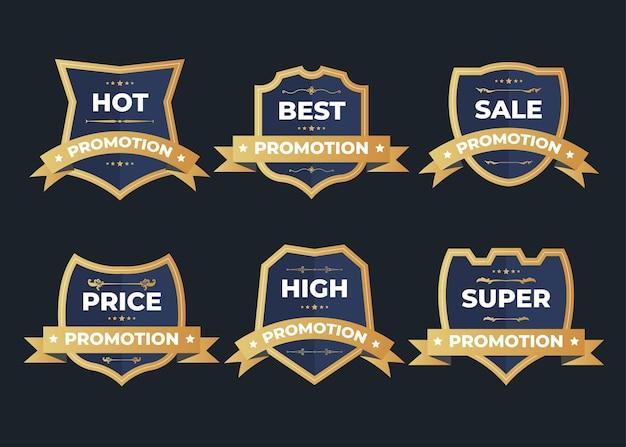 Набор значков с логотипом ретро винтаж продажи на темном