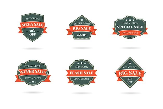 Набор значков с логотипом ретро старинных продаж