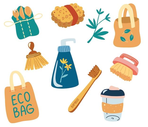 再利用可能なアイテムとパッケージのセット。エコロジー、ゼロウェイストの耐久性と再利用可能なアイテムまたは製品のトピックに関するオブジェクト。エコバッグ、木製カトラリー、ブラシ、再利用可能なカップ、衛生用品。ベクター