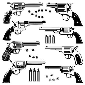 リボルバーイラストのセットです。ロゴ、ラベル、エンブレム、記号の要素。画像
