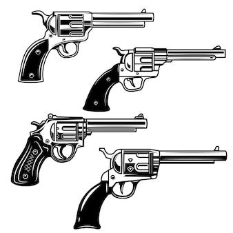 白い背景の上の拳銃のセット。ロゴ、ラベル、エンブレム、記号の要素。画像