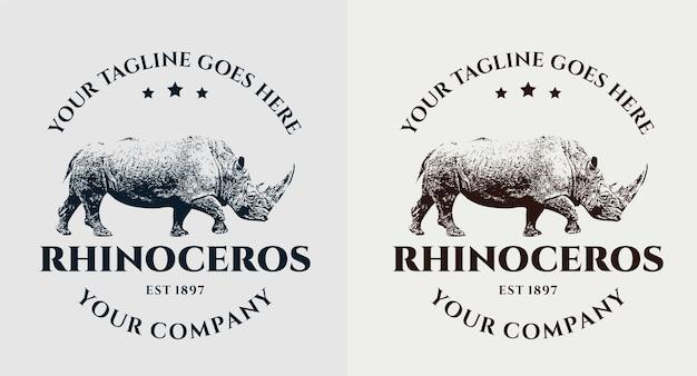 Rhinoceros 빈티지 로고 세트
