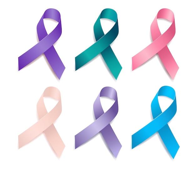 リボン認識婦人科がんのセット。子宮頸がん、卵巣がん、膣がん、外陰がん、子宮がん、子宮内膜がん。白い背景で隔離。ベクトルイラスト。