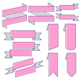 Set of ribbon banner vectors