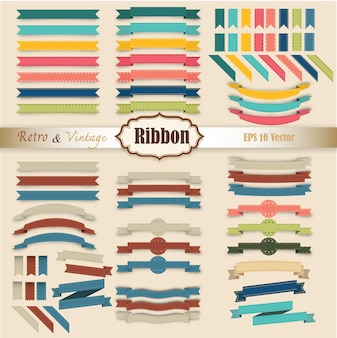 Set of Ribbon colorful retro and vintage style