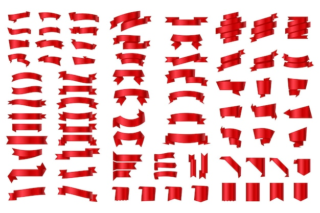 Набор лент и этикеток. красная лента знамена и флаги. ленты баннеры плоские, изолированные на белом фоне, набор иллюстраций бюрократии. флагообразные предметы. ленты баннеры. набор красных векторных лент.