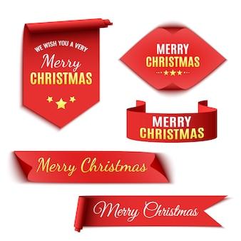 Набор лент и бумажных свитков с рождеством