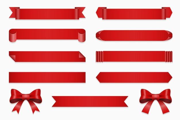 기념일 리본 세트입니다. 배너 및 활, 흰색 배경 일러스트 레이 션에 고립 된 직선 빨간 테이프