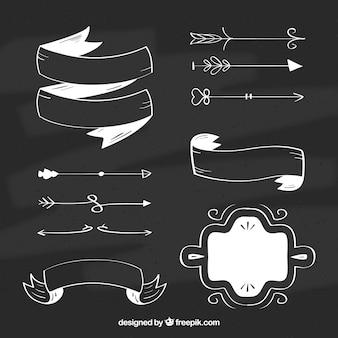 Набор лент, рам и стрелок в стиле доски