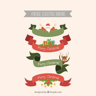 좋은 크리스마스 요소와 리본 세트