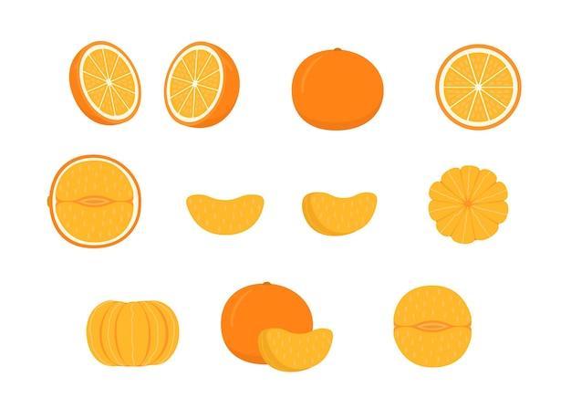 熟したオレンジマンダリンホールカットハーフピースとマンダリンタンジェリンまたはクレメンタインのスライスのセット