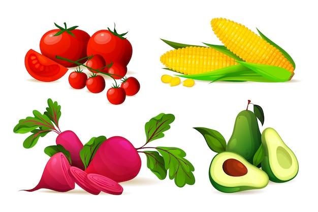 Набор спелых овощей векторных сельскохозяйственных продуктов