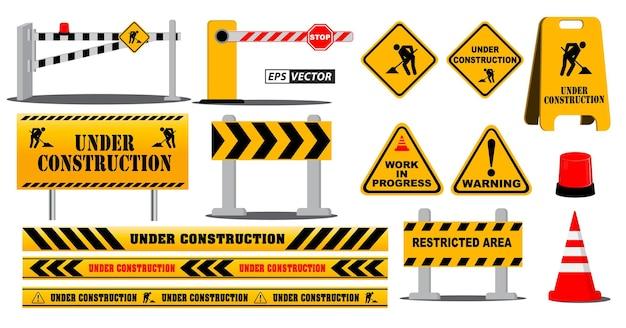 Набор дорожного барьера, дорожный знак или предупреждение о строительной площадке, или баррикада, блокирующая концепции улицы шоссе. вектор eps