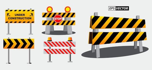 Набор дорожных барьеров, дорожный знак или предупреждение о строительной площадке, или баррикада, блокирующая шоссе