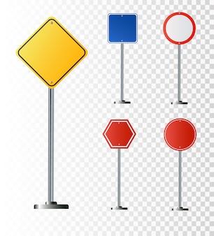 透明な背景に分離された道路標識のセット。図