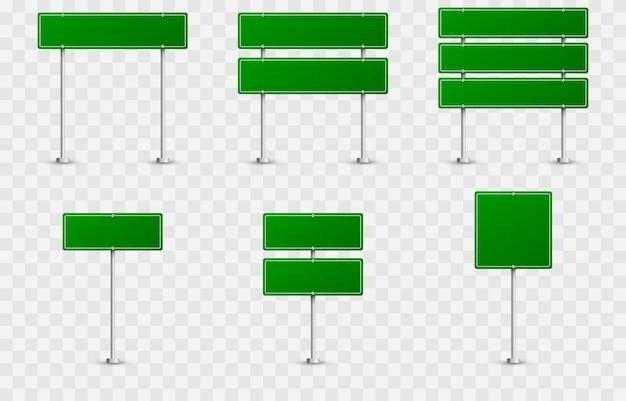 도로 표지판의 집합입니다. 격리 된 배경에 도로 표지판입니다. 녹색 깃발 png, 도로 표지판 png, 녹색 표지판.