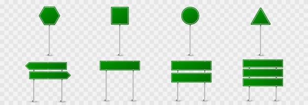 道路標識のセット。孤立した背景の道路標識。緑の旗png、道路標識png、緑の標識。