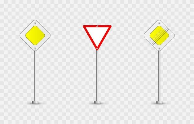Набор дорожных знаков. дорожные знаки на изолированном фоне. знаки приоритета png.