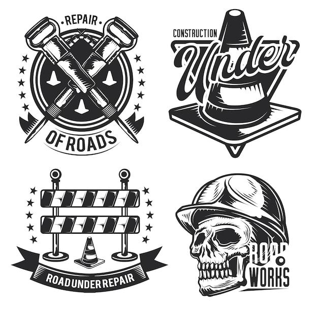道路工事のエンブレム、ラベル、バッジ、ロゴのセット。白で隔離
