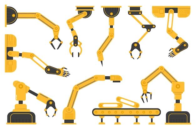 생산 라인 제조업체의 공장에서 로봇 손 도구 또는 산업용 용접 로봇의 집합입니다. 제조 산업 기계 로봇 팔, 기계 기술, 공장 기계 손. . 프리미엄 벡터