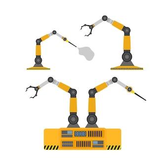 로봇 손 세트입니다. 촉수가 달린 기계 로봇. 현대 산업 기술입니다. 제조 기업용 기기. 외딴. 벡터.